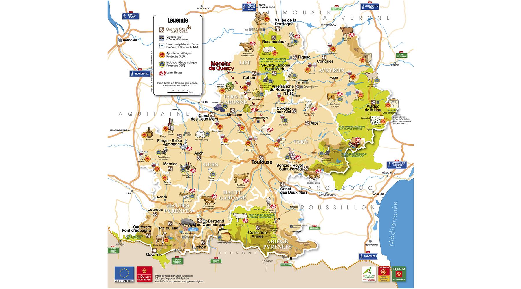 Carte régionale touristique
