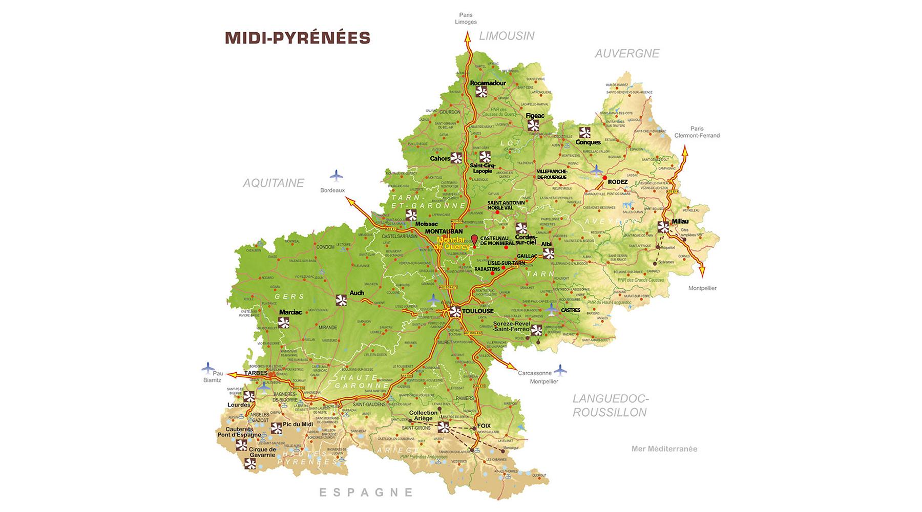 Carte Midi Pyrénées villes et villages touristiques